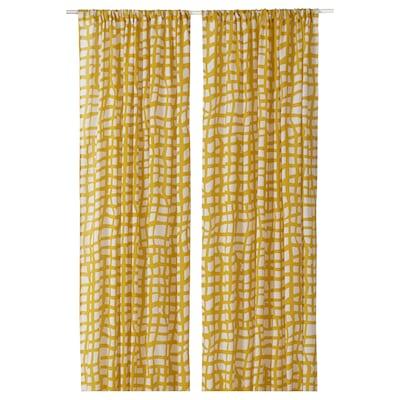 AMBRATRÄD Curtains, 1 pair, check/yellow, 145x150 cm