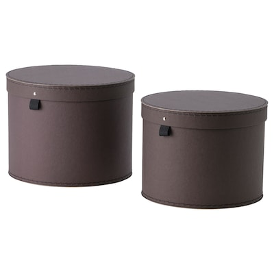 ANILINARE Storage box with lid, set of 2, dark brown