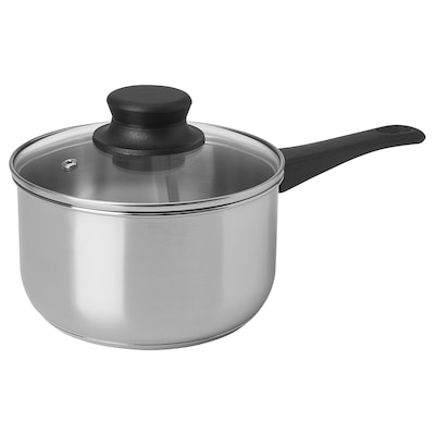 ANNONS Saucepan with lid, glass/stainless steel, 1.7 l