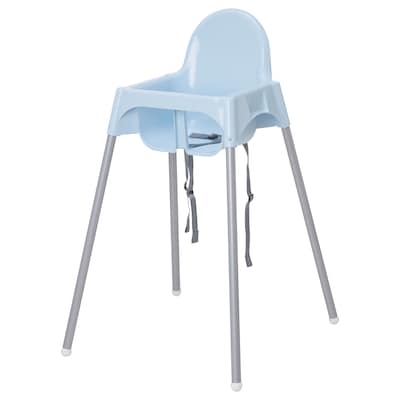 ANTILOP Highchair with safety belt, light blue/silver-colour