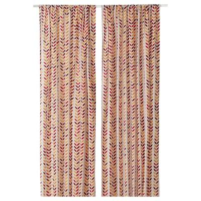 APELHÖSTMAL Curtains, 1 pair, leaf patterned/multicoloured, dark, 145x300 cm