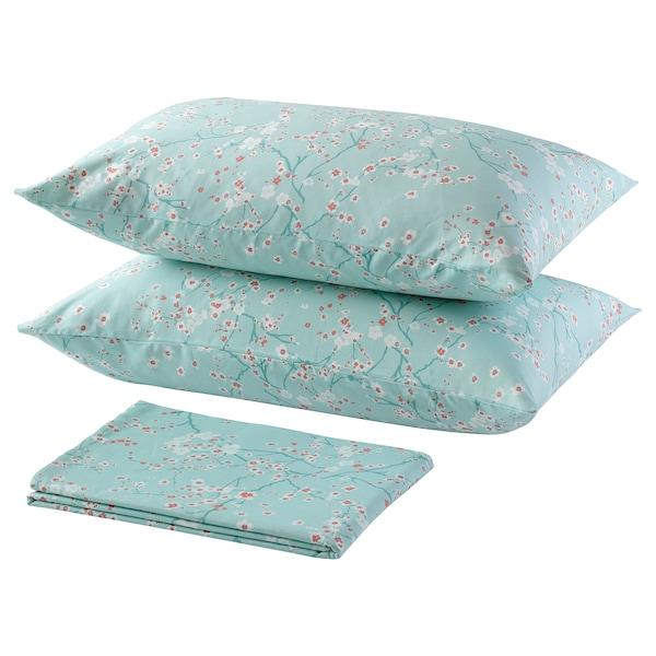 ASKLÖNN Flat sheet and 2 pillowcase, Cherry blossom branch/green/white, 240x260x50x80 cm