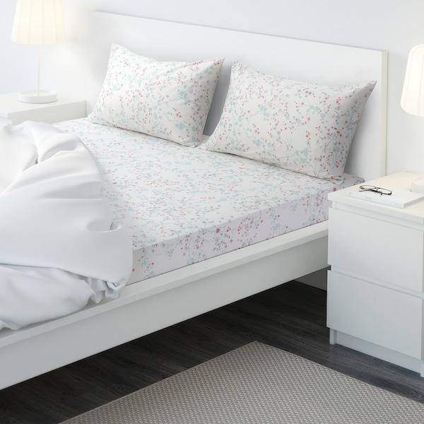 ASKLÖNN Flat sheet and 2 pillowcase, Cherry blossom branch/white/green, 240x260/50x80 cm