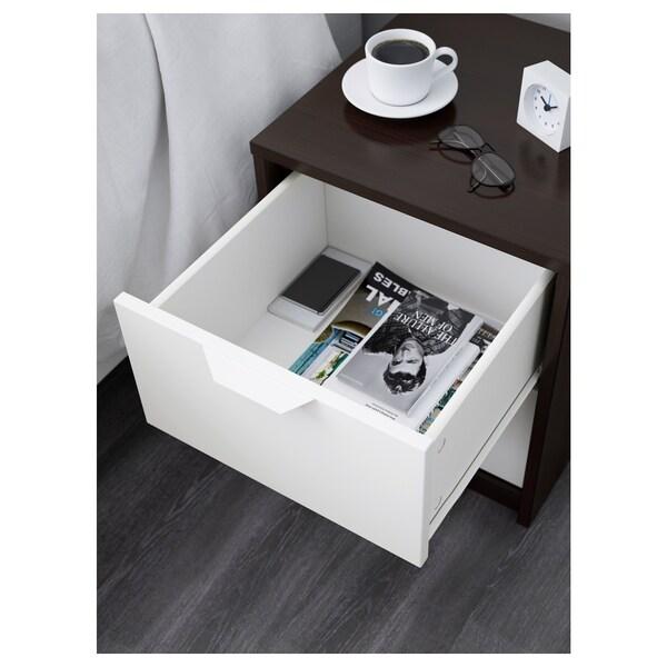 ASKVOLL Chest of 2 drawers, black-brown/white, 41x49 cm