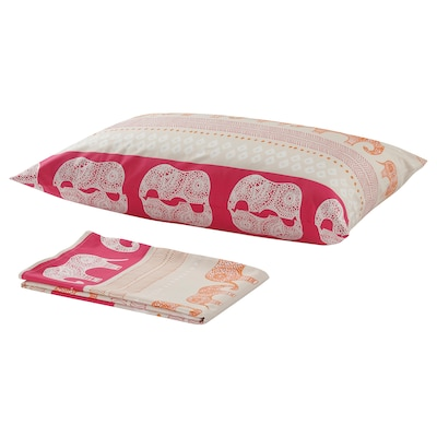BARDVAL flat sheet and pillowcase elephant grey/pink 50 cm 80 cm 150 cm 250 cm
