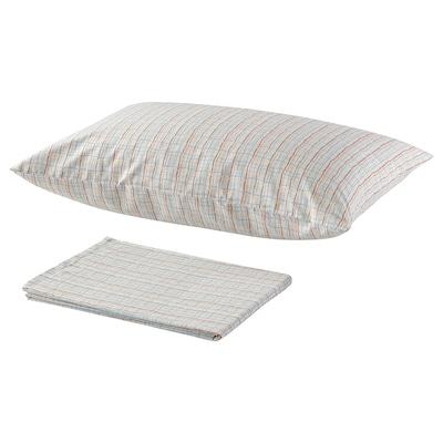 BEDYRA Flat sheet and pillowcase, orange blue/check, 150x260/50x80 cm