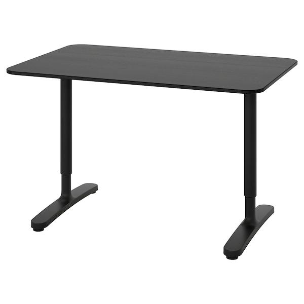 BEKANT Desk, black stained ash veneer/black, 120x80 cm