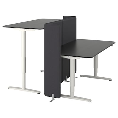 BEKANT Desk sit/stand with screen, black stained ash veneer/white, 160x160 120 cm