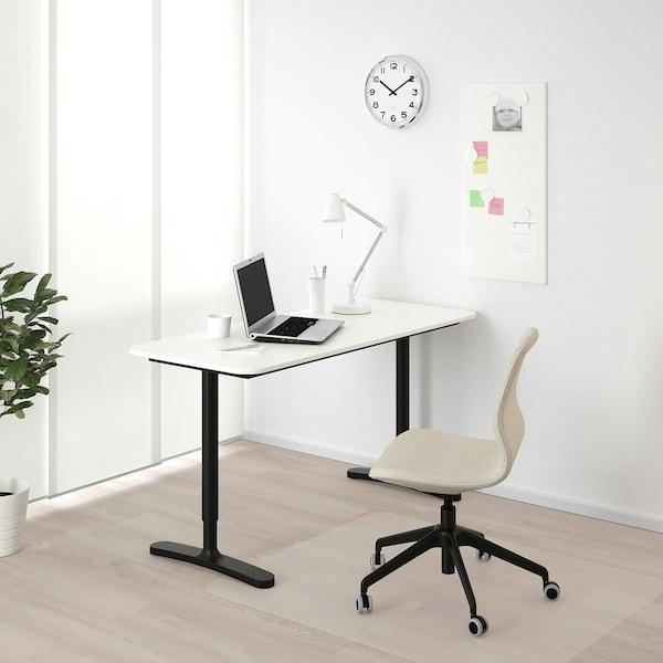 BEKANT Desk, white/black, 140x60 cm