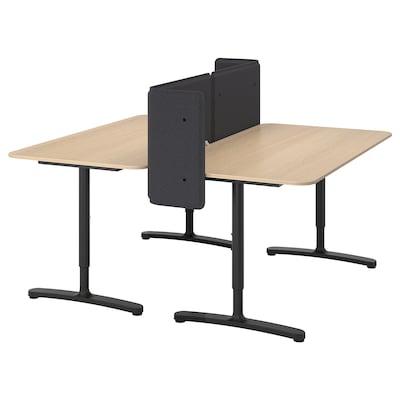 BEKANT Desk with screen, white stained oak veneer/black, 160x160 55 cm