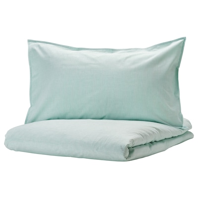 BERGPALM Quilt cover and 2 pillowcases, white/green/stripe, 240x220/50x80 cm