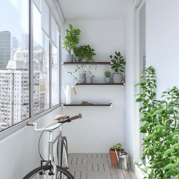 BERGSHULT / GRANHULT Wall shelf combination, brown-black/nickel-plated, 80x20 cm