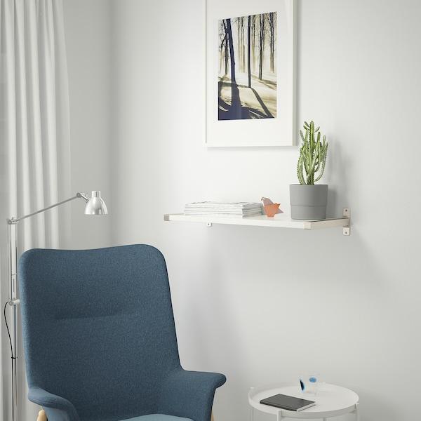 BERGSHULT / GRANHULT Wall shelf, white/nickel-plated, 80x30 cm