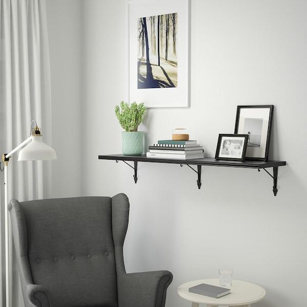 BERGSHULT / KROKSHULT Wall shelf, brown-black/anthracite, 120x30 cm