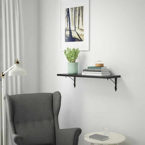 BERGSHULT / KROKSHULT Wall shelf, brown-black/anthracite, 80x30 cm