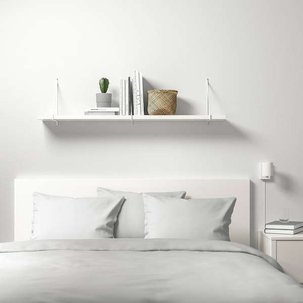BERGSHULT / PERSHULT Wall shelf, white/white, 120x20 cm