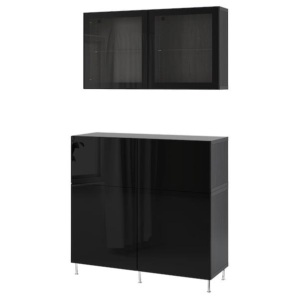 BESTÅ Storage combination w doors/drawers, black-brown/Selsviken/Stallarp high-gloss/black clear glass, 120x42x240 cm