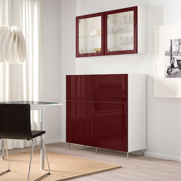 BESTÅ Storage combination w doors/drawers, white Selsviken/Stallarp/dark red-brown clear glass, 120x42x240 cm