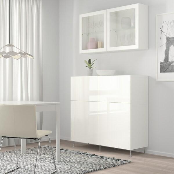 BESTÅ Storage combination w doors/drawers, white/Selsviken/Stallarp high-gloss/white clear glass, 120x42x240 cm