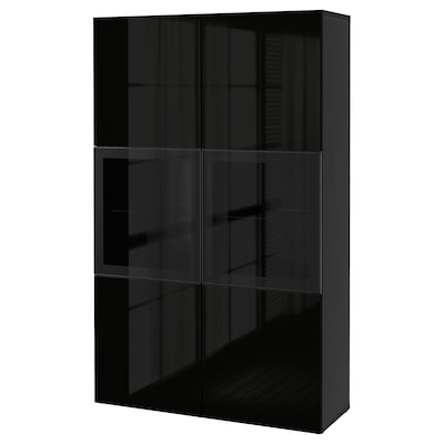 BESTÅ Storage combination w glass doors, black-brown/Selsviken high-gloss/black clear glass, 120x42x193 cm