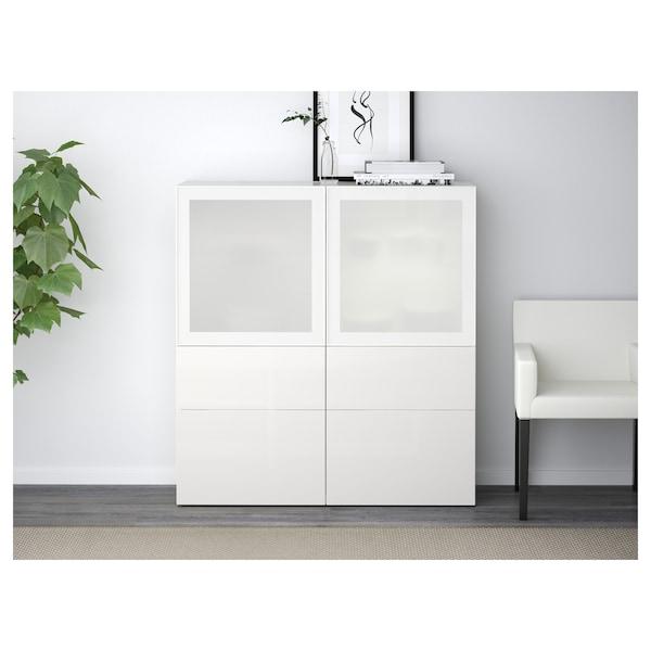 BESTÅ storage combination w glass doors white/Selsviken high-gloss/white frosted glass 120 cm 40 cm 128 cm
