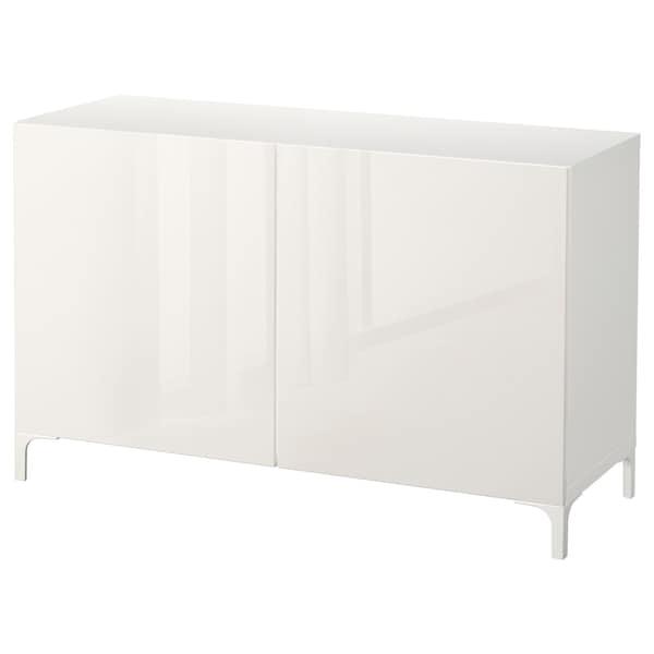BESTÅ Storage combination with doors, white/Selsviken high-gloss/white, 120x42x74 cm