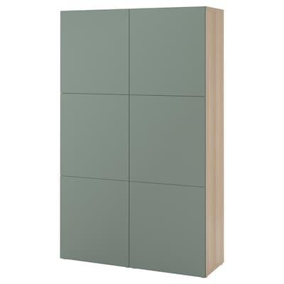 BESTÅ Storage combination with doors, white stained oak effect/Notviken grey-green, 120x42x192 cm
