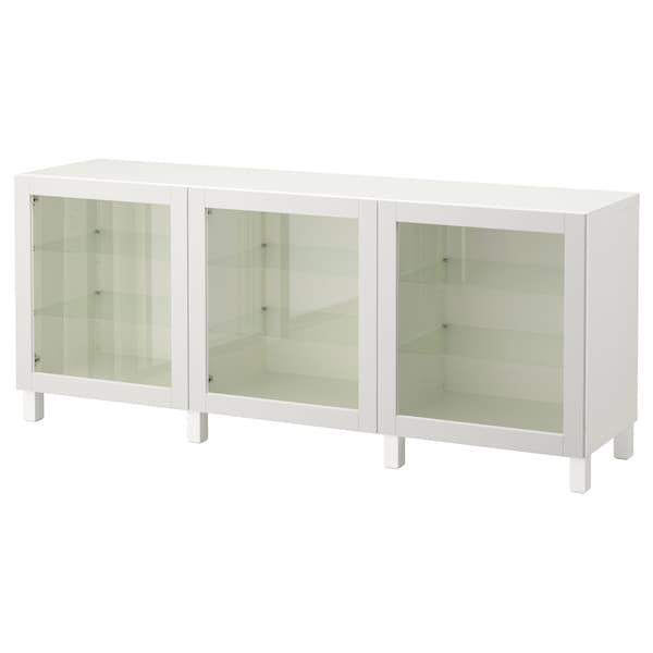 BESTÅ storage combination with doors white/Sindvik light grey clear glass 180 cm 40 cm 74 cm