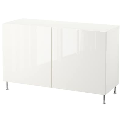 BESTÅ storage combination with doors white/Selsviken/Stallarp high-gloss/white 120 cm 40 cm 74 cm