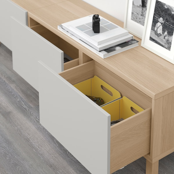 BESTÅ storage combination with drawers white stained oak effect/Lappviken light grey 180 cm 40 cm 48 cm