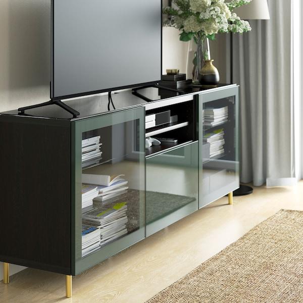 BESTÅ Top panel for TV, glass black, 180x40 cm