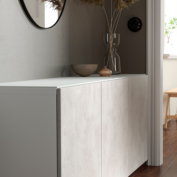 BESTÅ Top panel, glass white, 180x40 cm