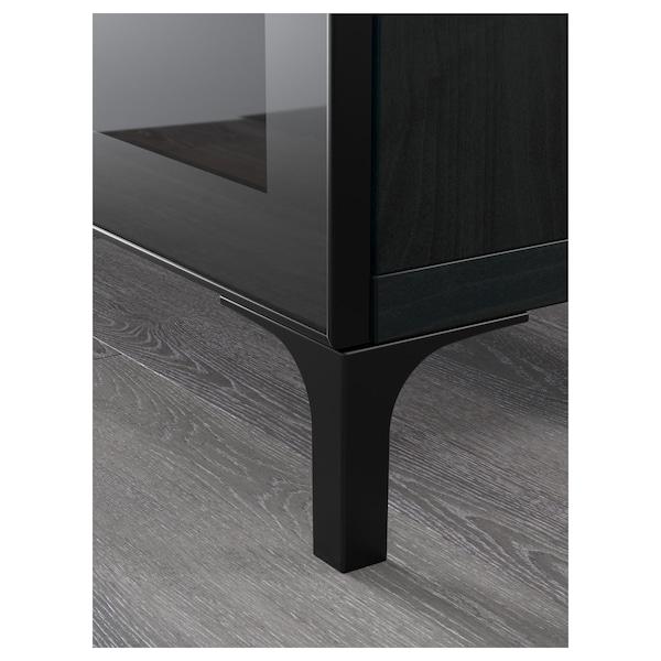 BESTÅ TV bench, black-brown/Selsviken high-gloss/black clear glass, 180x42x48 cm