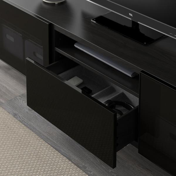 BESTÅ TV bench, black-brown/Selsviken high-gloss/black smoked glass, 180x42x48 cm