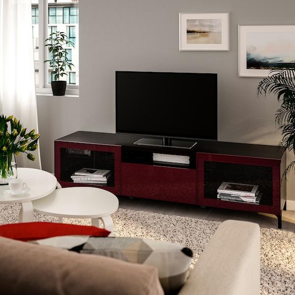 BESTÅ TV bench, black-brown Selsviken/Nannarp/high-gloss dark red-brown, 180x42x48 cm