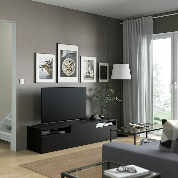 BESTÅ TV bench, Lappviken black-brown, 180x42x39 cm