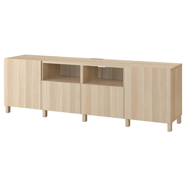 BESTÅ TV bench with doors and drawers, white stained oak effect/Lappviken/Stubbarp white stained oak effect, 240x42x74 cm