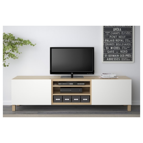 BESTÅ TV bench with drawers, white stained oak effect/Lappviken white, 180x40x48 cm