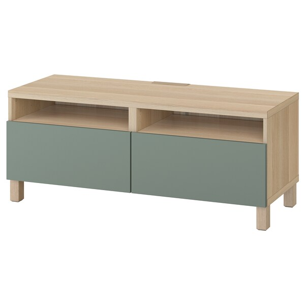 BESTÅ TV bench with drawers, white stained oak effect/Notviken/Stubbarp grey-green, 120x42x48 cm