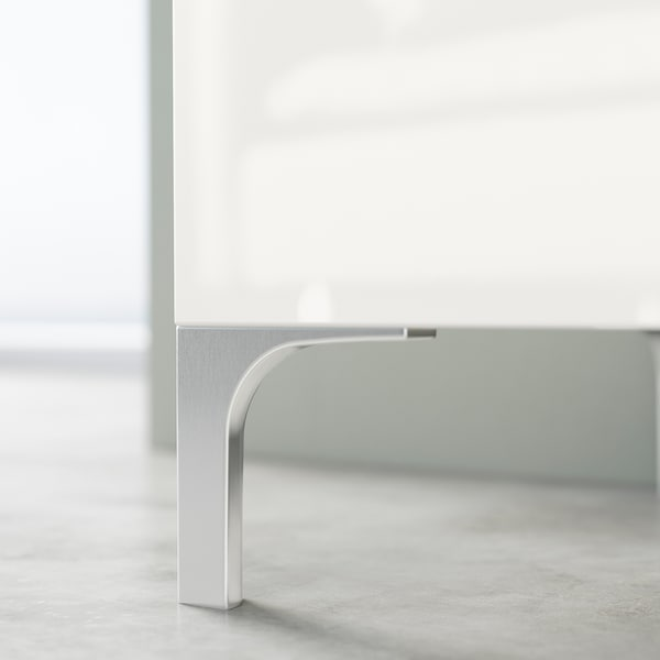 BESTÅ TV bench with drawers, white stained oak effect/Selsviken high-gloss/white, 120x42x48 cm