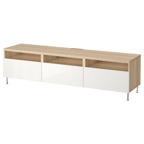 BESTÅ TV bench with drawers, white stained oak effect/Selsviken/Stallarp white, 180x40x48 cm