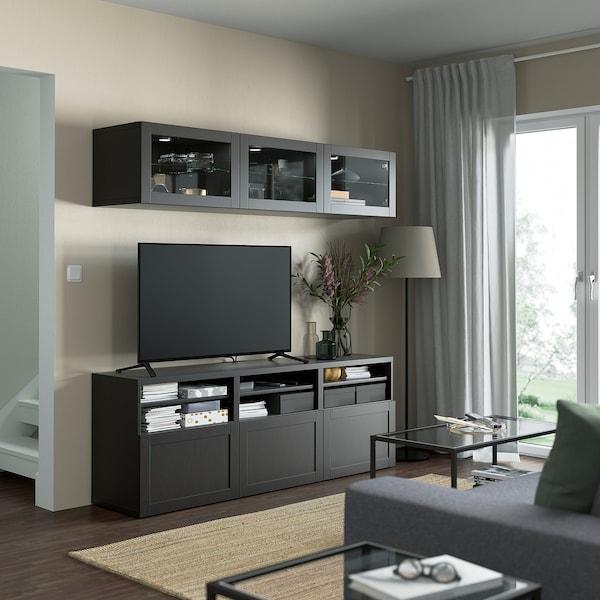 BESTÅ TV storage combination/glass doors, black-brown/Hanviken black-brown clear glass, 180x42x192 cm