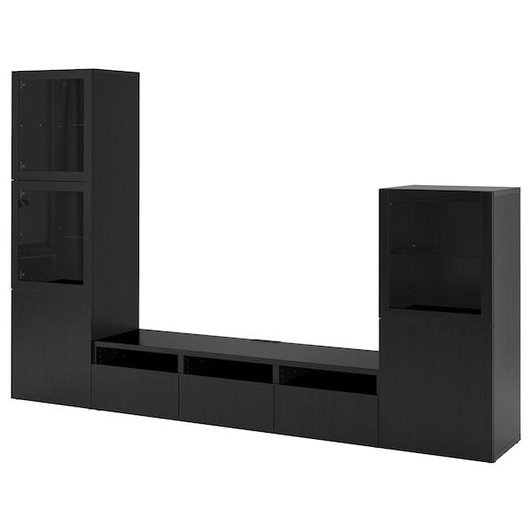 BESTÅ TV storage combination/glass doors, black-brown/Lappviken black-brown clear glass, 300x42x193 cm