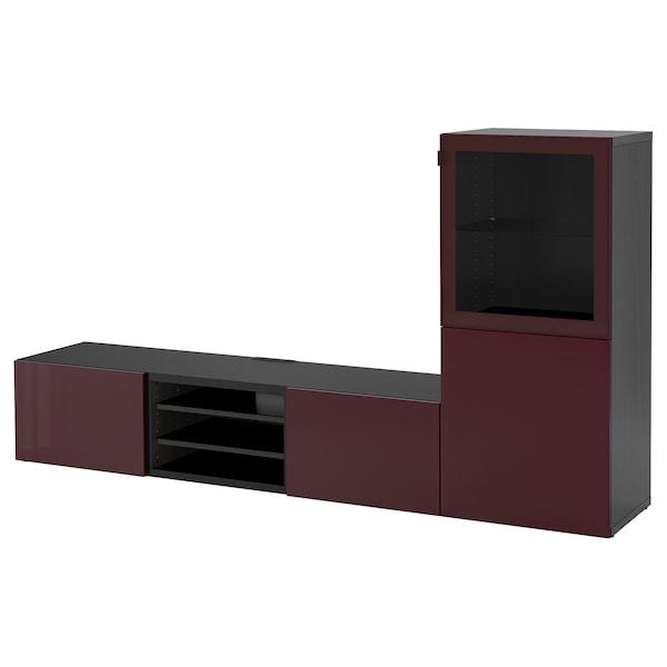 BESTÅ TV storage combination/glass doors, black-brown Selsviken/dark red-brown clear glass, 240x42x129 cm