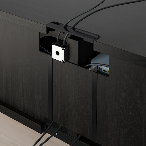 BESTÅ TV storage combination/glass doors black-brown/Selsviken high-gloss/beige clear glass 240 cm 166 cm 20 cm 40 cm