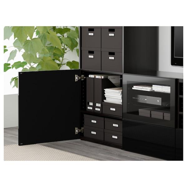 BESTÅ TV storage combination/glass doors, black-brown/Selsviken high-gloss/black clear glass, 240x40x230 cm