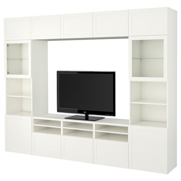 BESTÅ TV storage combination/glass doors, Hanviken white clear glass, 300x40x230 cm