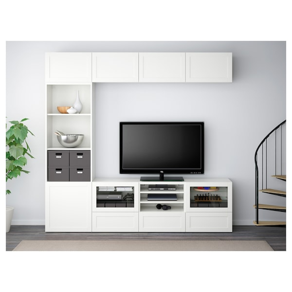 BESTÅ TV storage combination/glass doors, Hanviken white clear glass, 240x40x230 cm