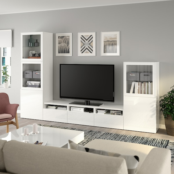 BESTÅ TV storage combination/glass doors, white/Selsviken high-gloss/white clear glass, 300x42x193 cm
