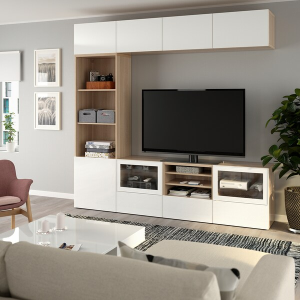 BESTÅ TV storage combination/glass doors, white stained oak effect/Selsviken high-gloss/white clear glass, 240x40x230 cm
